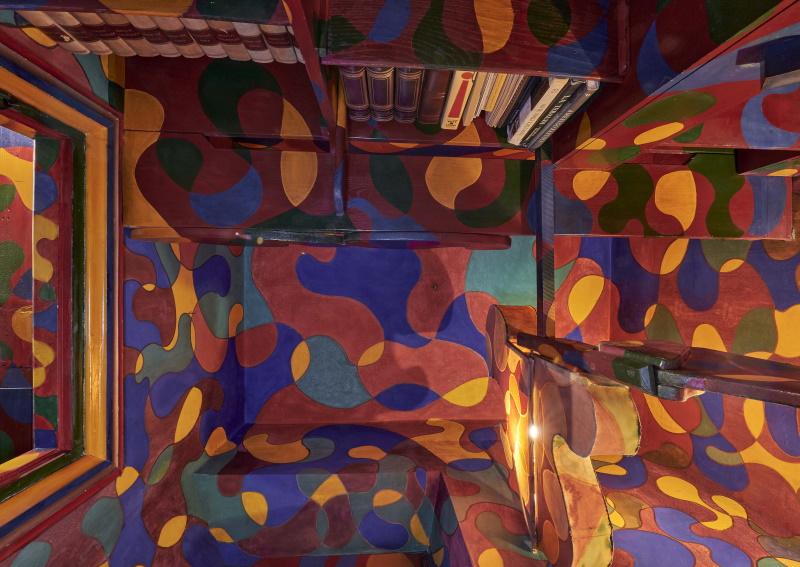 CASA BALLA, Via Oslavia Studiolo rosso dettaglio / Red Small study detail Foto M3Studio Courtesy Fondazione MAXXI © GIACOMO BALLA, by SIAE 2021