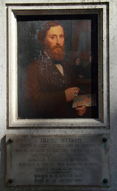 Tomba Filippo Severati - autoritratto ed epigrafe