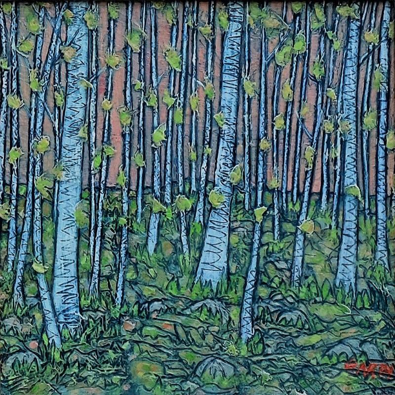 Garth Speight, Bosco di betulle, acrilico, cm. 34x34