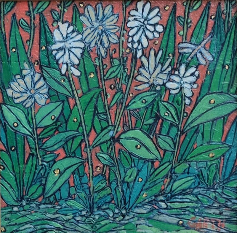 Garth Speight, Fiori selvatici a Villa Torlonia, acrilico, cm. 25x25