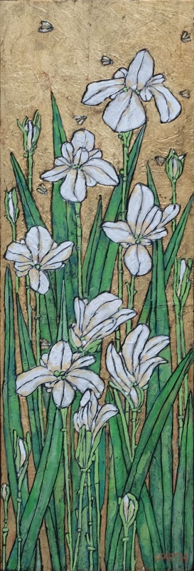 Garth Speight, Iris a Villa Torlonia, acrilico, cm. 35x90