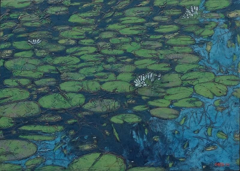 Garth Speight, Ninfee, acrilico, cm. 70x50