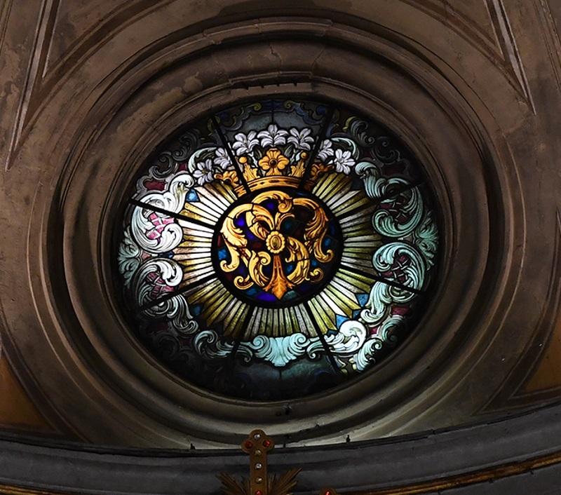 Lo stemma dei Servi di Maria sul rosone principale