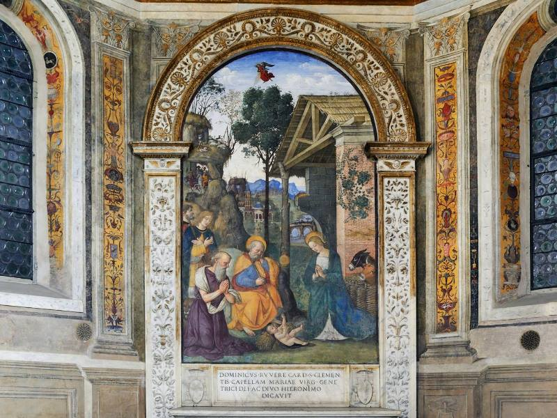 Natività con San Girolamo - Pinturicchio ph Basilica Santa Maria del Popolo Official Facebook