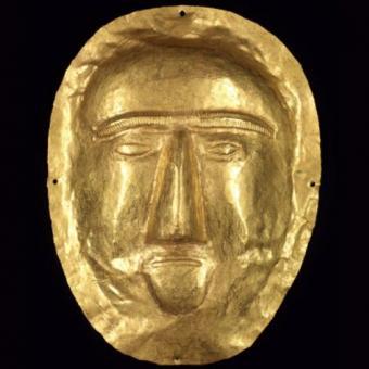 Maschera funeraria I sec. d.C., Oro, Thaj, Tell al-Zayer, Museo Nazionale Riad