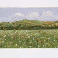 Diego Angeli, Castel Giubileo sulla via Cassia 1894, olio su cartone