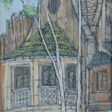 Garth Speight, Casina delle Civette a Villa Torlonia, acrilico, cm. 42x100