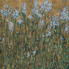 Garth Speight, Fiori di campo a Villa Torlonia, acrilico, cm. 37x47,5
