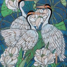 Garth Speight, Uccelli in uno stagno, acrilico, cm. 52x78