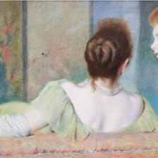 Federico Zandomeneghi, Sul divano, 1885-1890 circa. Olio su tela, Collezione privata, Italia