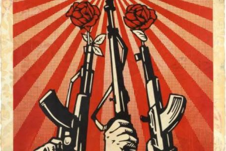 Shepard Fairey, Guns and Roses, 2019, Silkscreen and mixed media collage on paper
