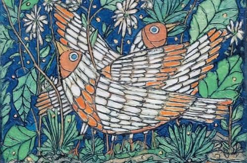 Garth Speight, Coppia di uccelli, acrilico, cm. 35x25